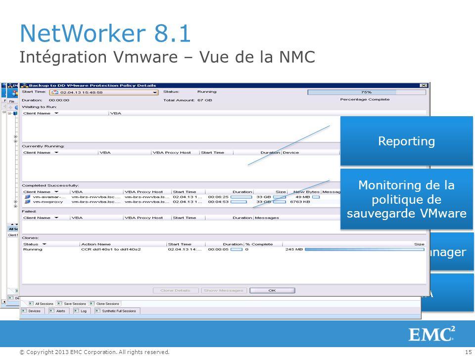 15© Copyright 2013 EMC Corporation. All rights reserved. NetWorker 8.1 Intégration Vmware – Vue de la NMC Vue VBA VBA Policy Manager Monitoring de la