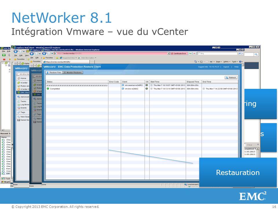 16© Copyright 2013 EMC Corporation. All rights reserved. NetWorker 8.1 Intégration Vmware – vue du vCenter vCenter Backup UI Plugin Affectation des po