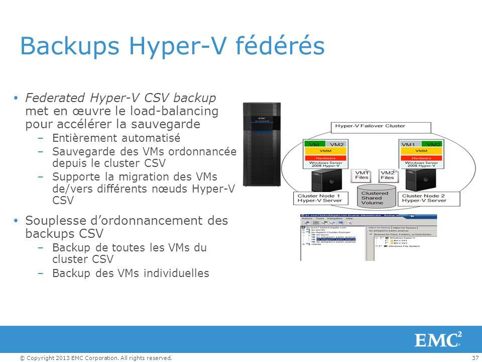 37© Copyright 2013 EMC Corporation. All rights reserved. Backups Hyper-V fédérés Federated Hyper-V CSV backup met en œuvre le load-balancing pour accé