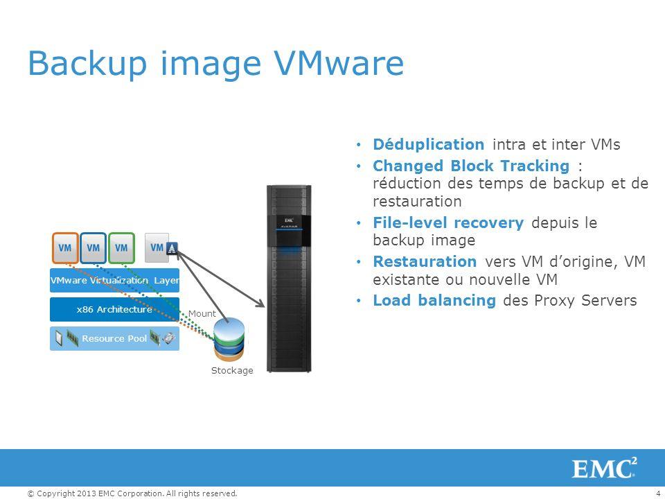 4 Backup image VMware Déduplication intra et inter VMs Changed Block Tracking : réduction des temps de backup et de restauration File-level recovery d