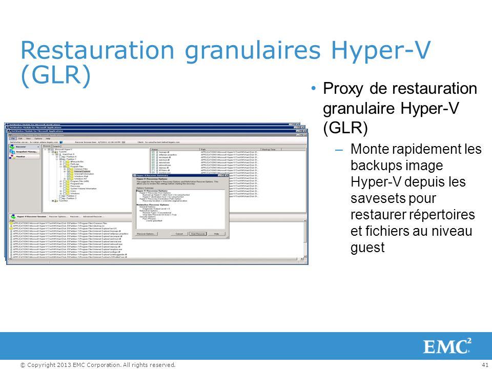 41© Copyright 2013 EMC Corporation. All rights reserved. Restauration granulaires Hyper-V (GLR) Proxy de restauration granulaire Hyper-V (GLR) –Monte