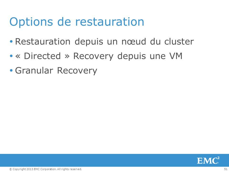 51© Copyright 2013 EMC Corporation. All rights reserved. Options de restauration Restauration depuis un nœud du cluster « Directed » Recovery depuis u