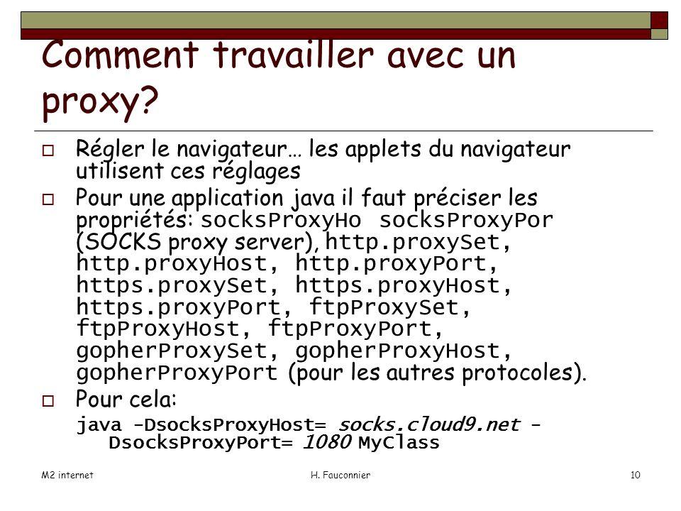 M2 internetH. Fauconnier10 Comment travailler avec un proxy.
