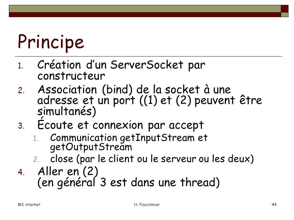 M2 internetH. Fauconnier44 Principe 1. Création dun ServerSocket par constructeur 2.