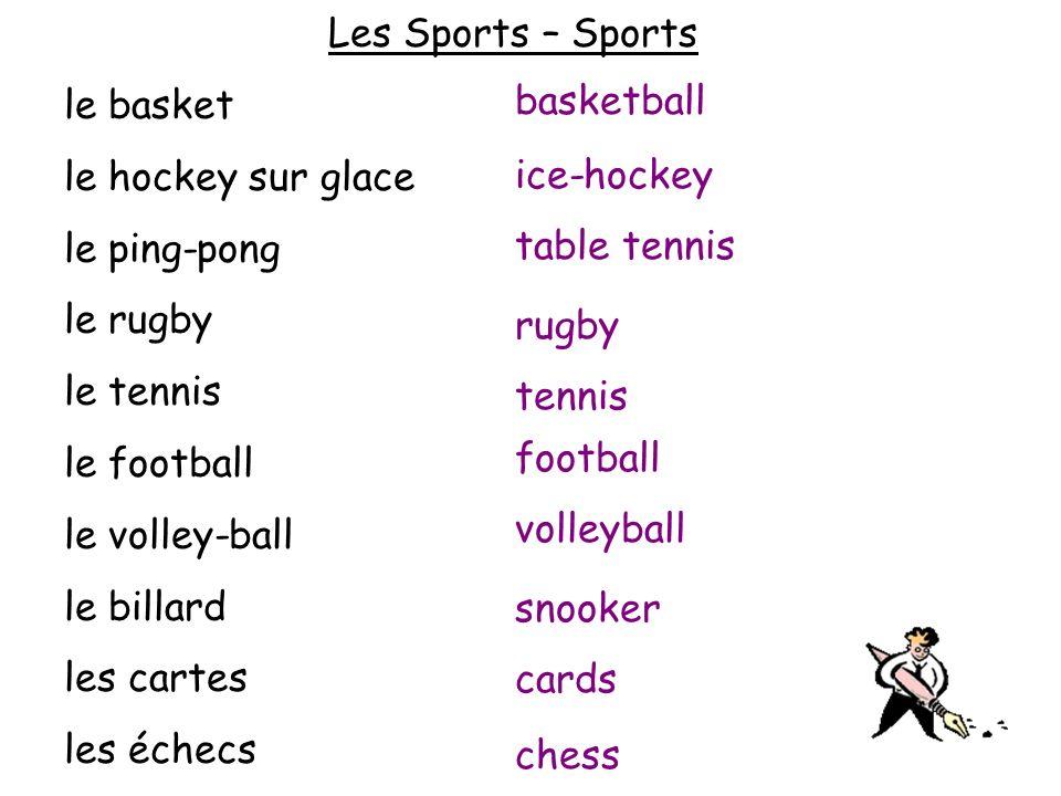 Les Sports – Sports le basket le hockey sur glace le ping-pong le rugby le tennis le football le volley-ball le billard les cartes les échecs basketba