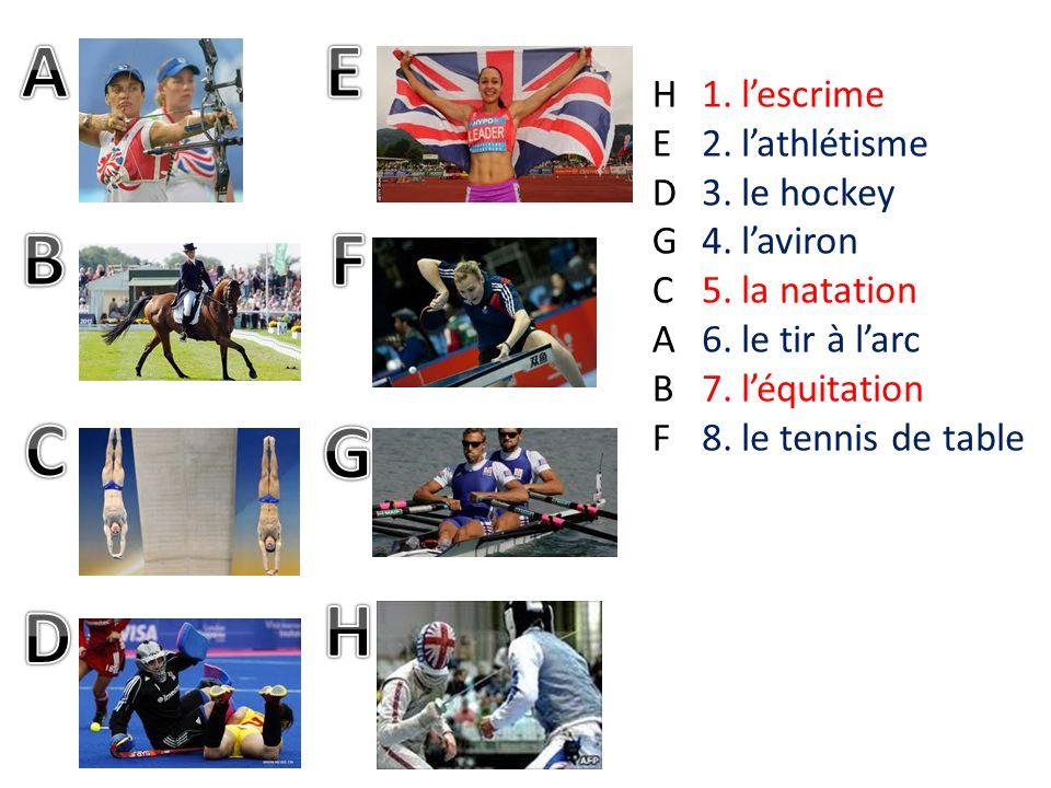 1.lescrime 2.lathlétisme 3.le hockey 4.laviron 5.la natation 6.le tir à larc 7.léquitation 8.le tennis de table HEDGCABFHEDGCABF