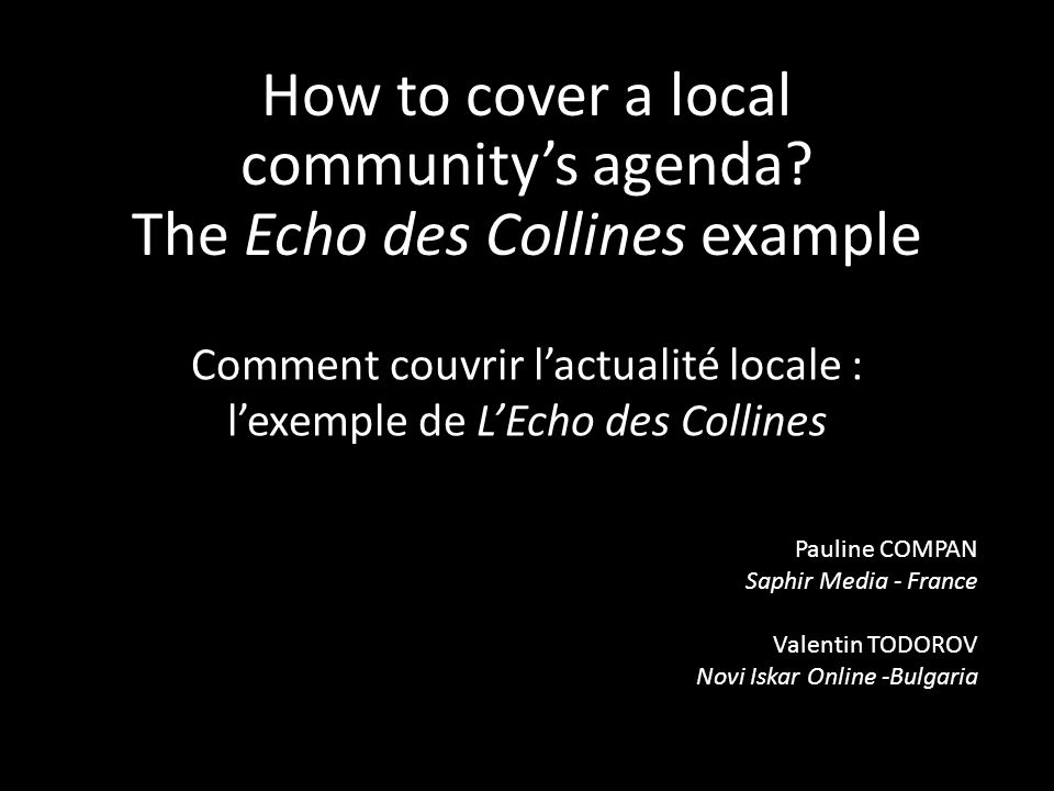 How to cover a local communitys agenda.