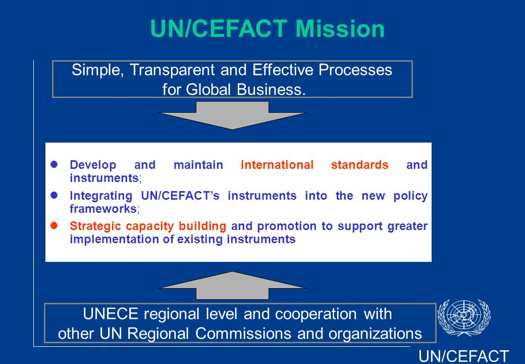 UN/CEFACT UNECE regional level and cooperation with other UN Regional Commissions and organizations Develop and maintain international standards and i