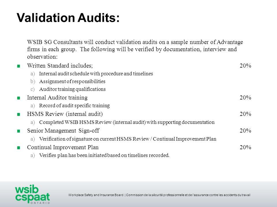 Workplace Safety and Insurance Board | Commission de la sécurité professionnelle et de lassurance contre les accidents du travail Validation Audits: W