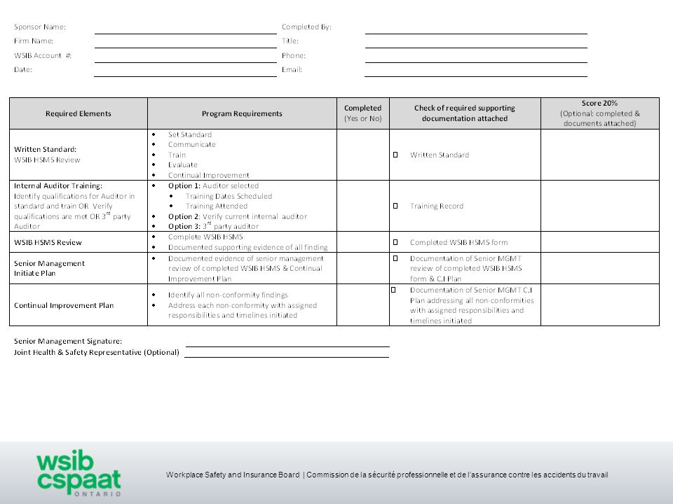 Workplace Safety and Insurance Board | Commission de la sécurité professionnelle et de lassurance contre les accidents du travail