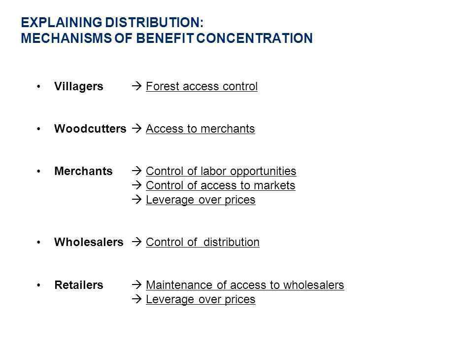 EXPLAINING DISTRIBUTION: MECHANISMS OF BENEFIT CONCENTRATION Villagers Forest access control Woodcutters Access to merchants Merchants Control of labor opportunities Control of access to markets Leverage over prices Wholesalers Control of distribution Retailers Maintenance of access to wholesalers Leverage over prices