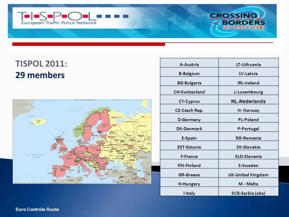 Euro Contrôle Route TISPOL 2011: 29 members A-AustriaLT-Lithuania B-BelgiumLV-Latvia BG-BulgariaIRL-Ireland CH-SwitzerlandL-Luxembourg CY-Cyprus NL-Nederlands CZ-Czech Rep.N- Norway D-GermanyPL-Poland DK-DenmarkP-Portugal E-SpainRO-Romania EST-EstoniaSK-Slovakia F-FranceSLO-Slovenia FIN-FinlandS-Sweden GR-GreeceUK-United Kingdom H-HungaryM - Malta I-ItalySCG-Serbia (obs)