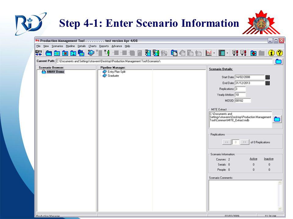 Defence R&D Canada – CORA R & D pour la défense Canada – CARO Step 4-1: Enter Scenario Information