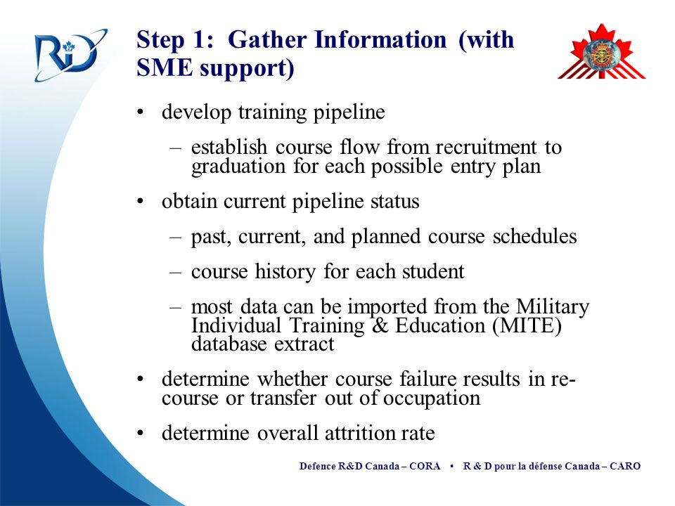 Defence R&D Canada – CORA R & D pour la défense Canada – CARO Step 1: Gather Information (with SME support) develop training pipeline –establish course flow from recruitment to graduation for each possible entry plan obtain current pipeline status –past, current, and planned course schedules –course history for each student –most data can be imported from the Military Individual Training & Education (MITE) database extract determine whether course failure results in re- course or transfer out of occupation determine overall attrition rate