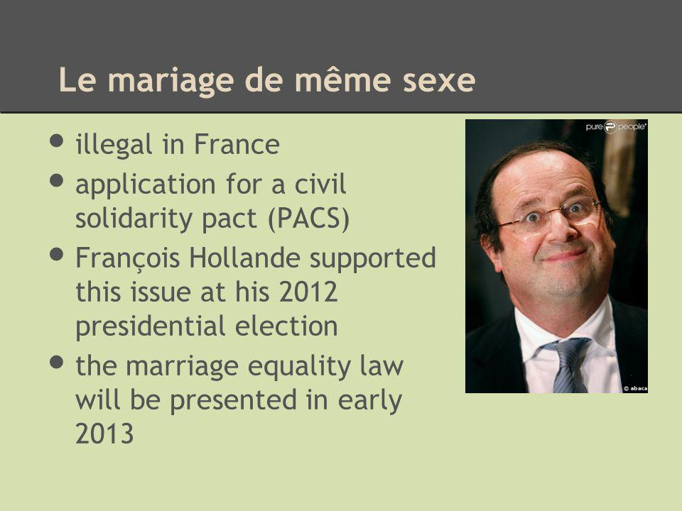 Le mariage de même sexe illegal in France application for a civil solidarity pact (PACS) François Hollande supported this issue at his 2012 presidenti