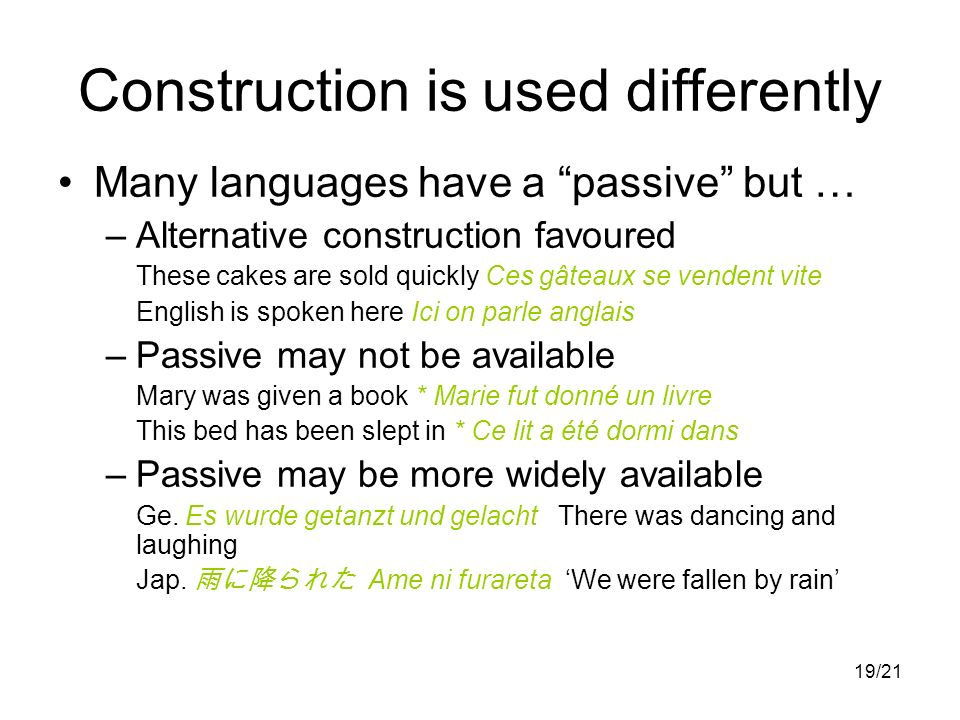 19/21 Many languages have a passive but … –Alternative construction favoured These cakes are sold quickly Ces gâteaux se vendent vite English is spoke