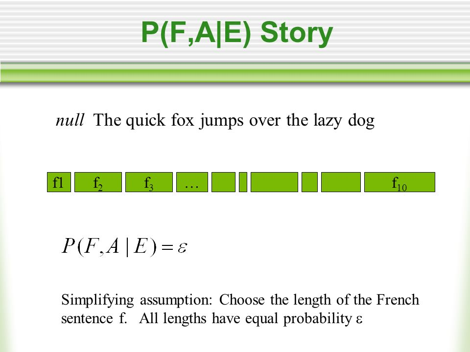 P(F,A|E) Story null The quick fox jumps over the lazy dog f1f2f2 f3f3 …f 10 There are (l+1) m = (8+1) 10 possible alignments