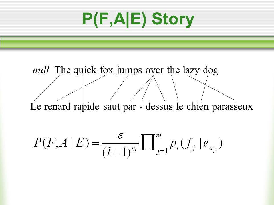 P(F,A|E) Story null The quick fox jumps over the lazy dog Le renard rapide saut par - dessus le chien parasseux