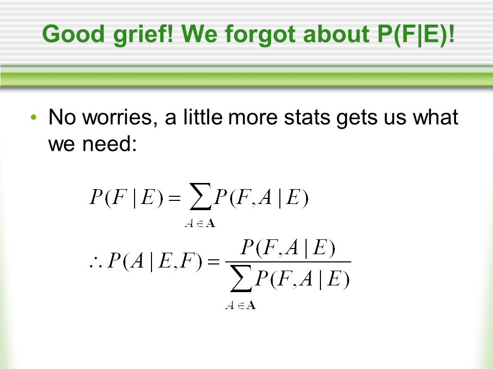 Good grief! We forgot about P(F|E)! No worries, a little more stats gets us what we need: