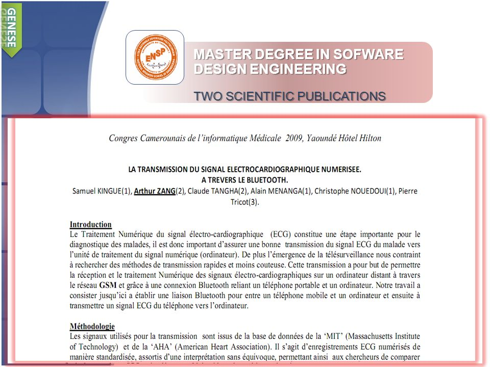 MASTER DEGREE IN SOFWARE DESIGN ENGINEERING TWO SCIENTIFIC PUBLICATIONS