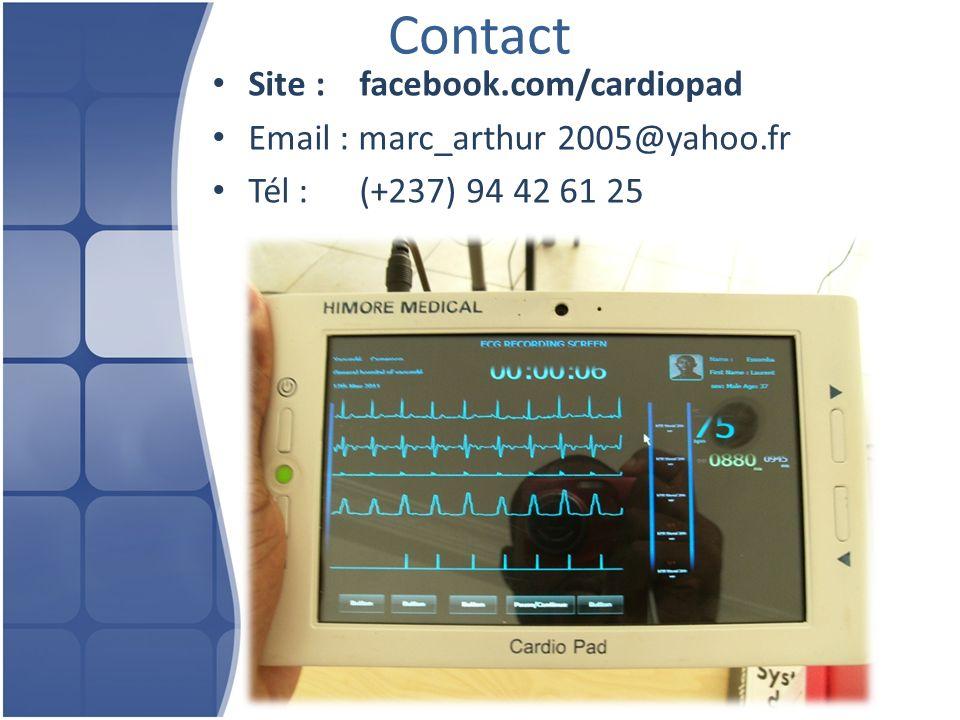 Contact Site : facebook.com/cardiopad Email : marc_arthur 2005@yahoo.fr Tél : (+237) 94 42 61 25