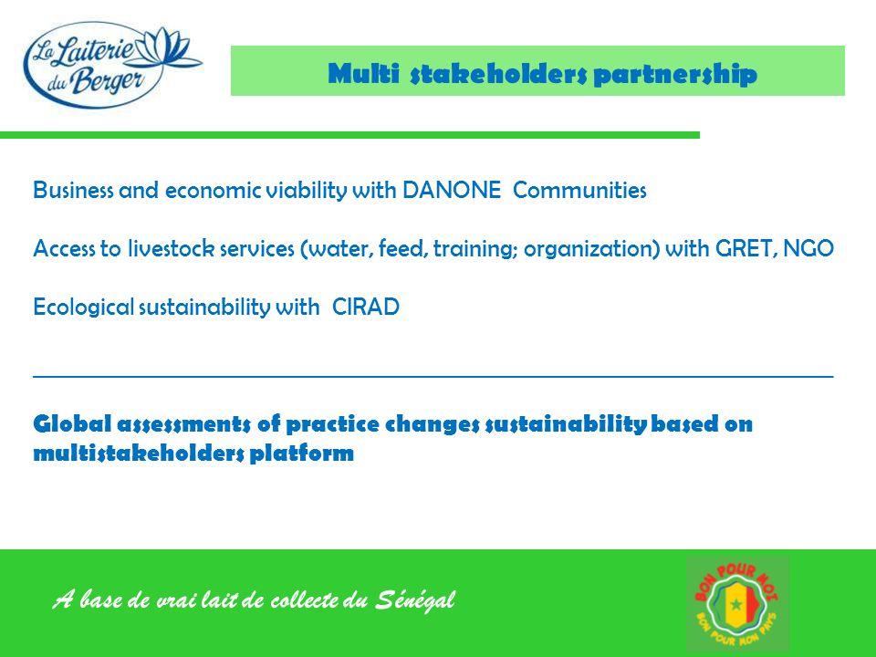 A base de vrai lait de collecte du Sénégal Multi stakeholders partnership Business and economic viability with DANONE Communities Access to livestock