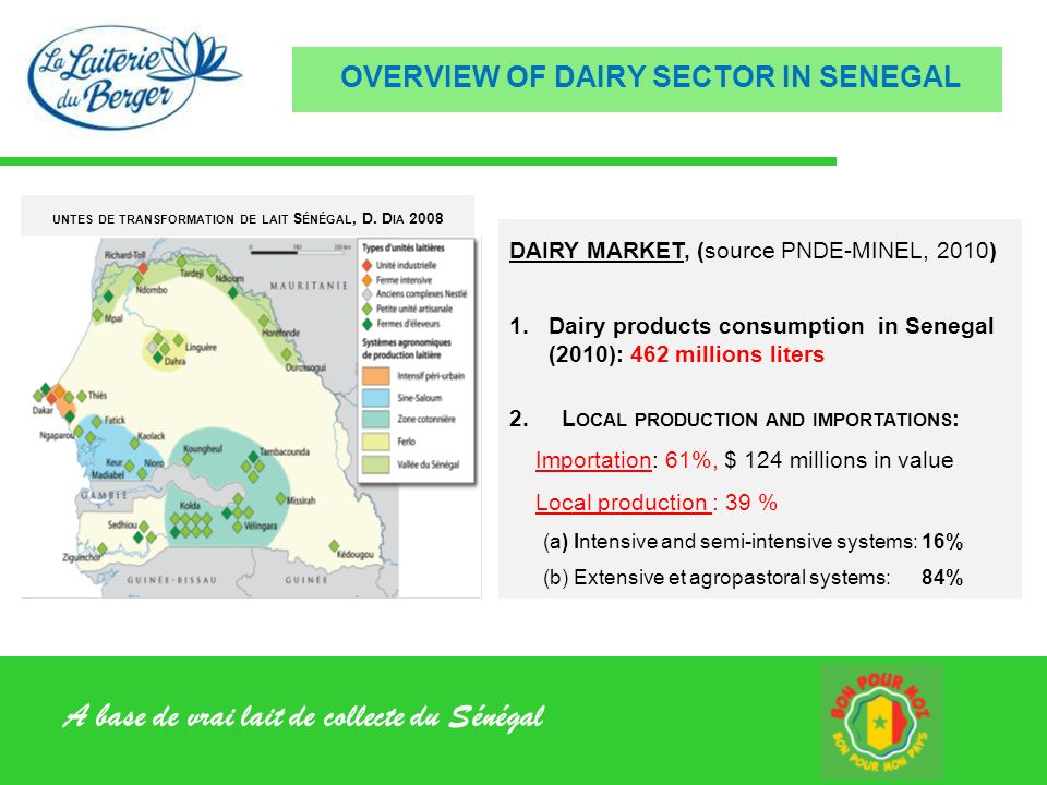 A base de vrai lait de collecte du Sénégal CREATED in 2006 by Young Senegaleses, main promoter in Veterinarian GOAL: Valorize local dairy of small producers for offering quality dairy products to urbans consumers.