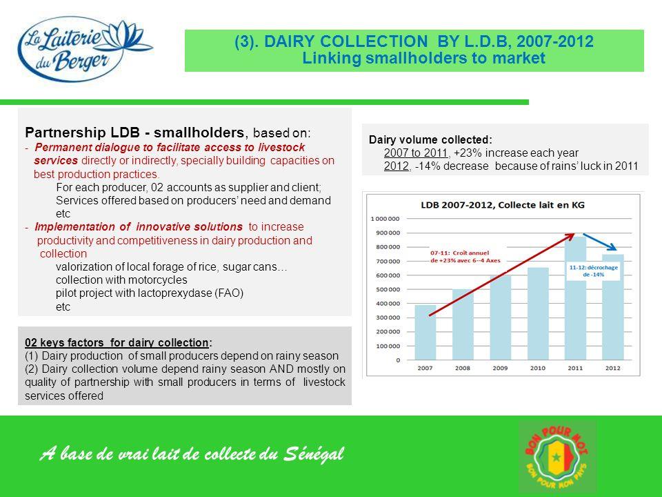 A base de vrai lait de collecte du Sénégal (3). DAIRY COLLECTION BY L.D.B, 2007-2012 Linking smallholders to market Partnership LDB - smallholders, ba