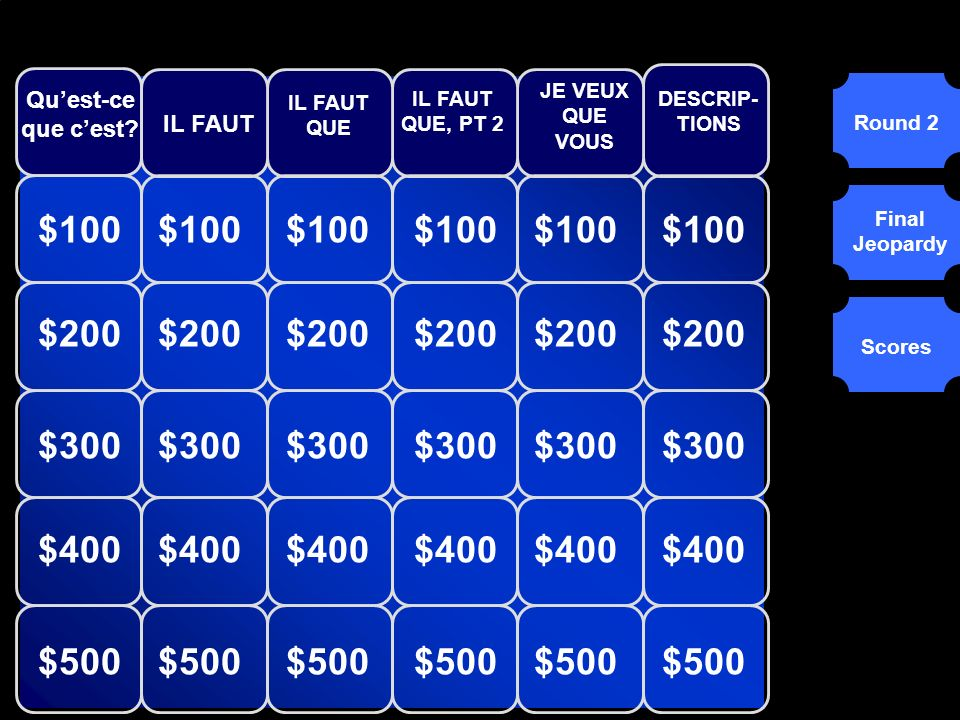 © Mark E. Damon - All Rights ReservedÉQUIPEA ÉQUIPE B ÉQUIPE C Tournée 1Tournée 2 Jeopardy Final