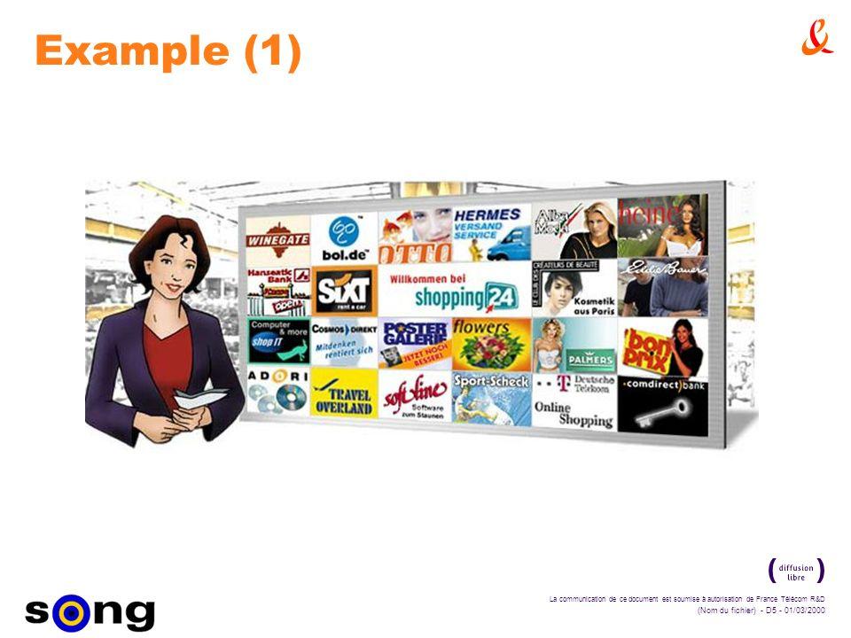 La communication de ce document est soumise à autorisation de France Télécom R&D (Nom du fichier) - D5 - 01/03/2000 Example (1)