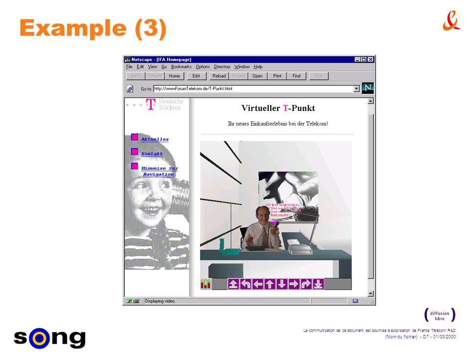 La communication de ce document est soumise à autorisation de France Télécom R&D (Nom du fichier) - D7 - 01/03/2000 Example (3)