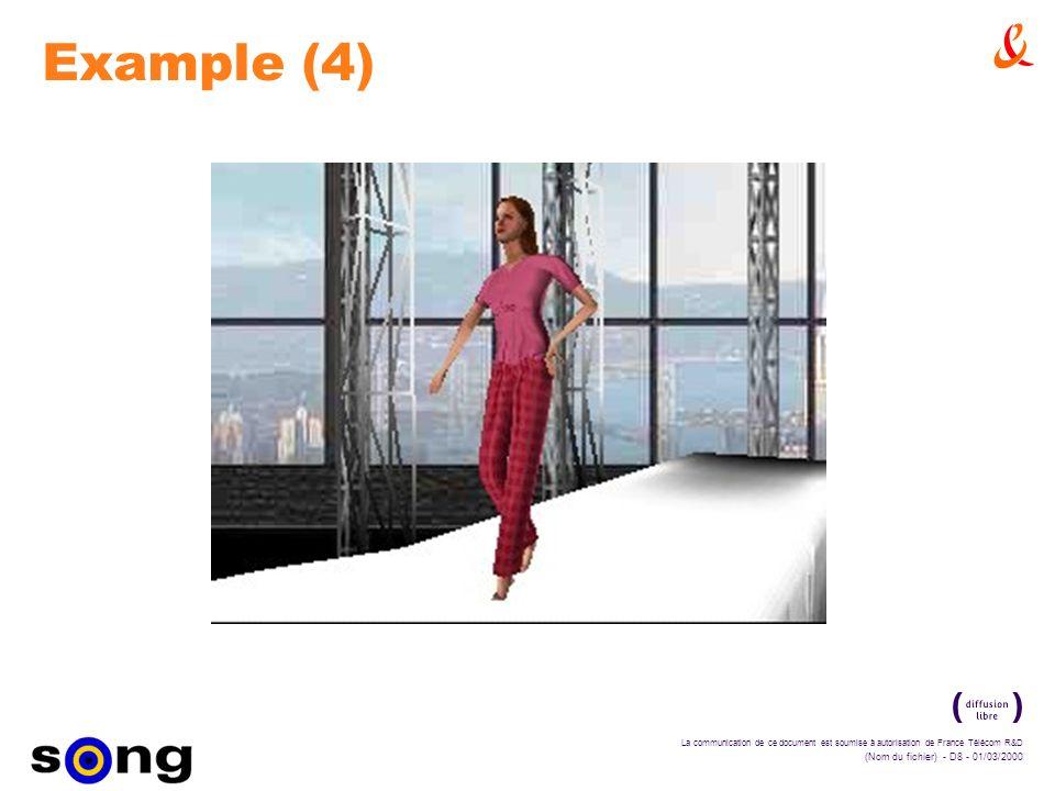 La communication de ce document est soumise à autorisation de France Télécom R&D (Nom du fichier) - D8 - 01/03/2000 Example (4)