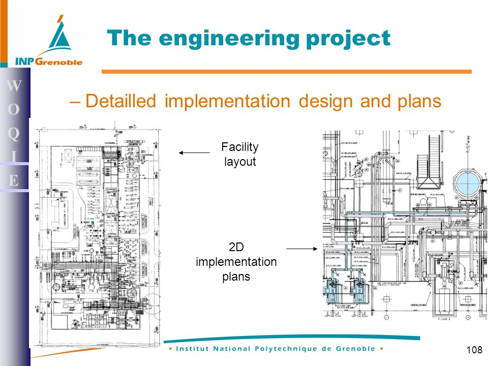 108 –Detailled implementation design and plans WOQIEWOQIE The engineering project Facility layout 2D implementation plans