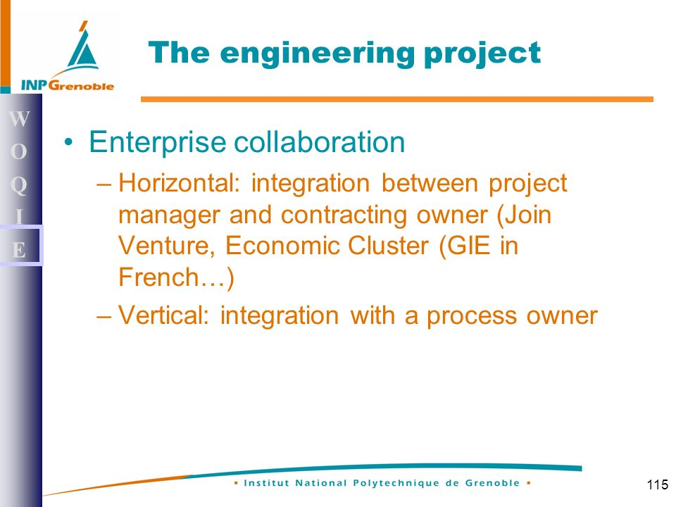 115 Enterprise collaboration –Horizontal: integration between project manager and contracting owner (Join Venture, Economic Cluster (GIE in French…) –Vertical: integration with a process owner WOQIEWOQIE The engineering project