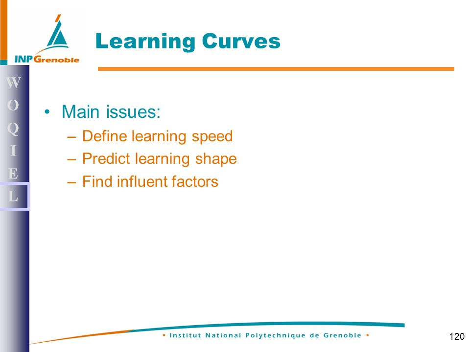 120 Learning Curves Main issues: –Define learning speed –Predict learning shape –Find influent factors WOQIELWOQIEL