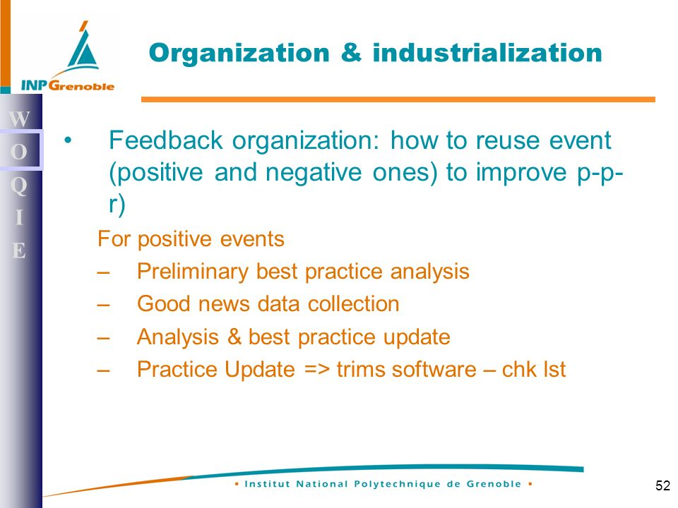 52 Feedback organization: how to reuse event (positive and negative ones) to improve p-p- r) For positive events –Preliminary best practice analysis –Good news data collection –Analysis & best practice update –Practice Update => trims software – chk lst WOQIEWOQIE Organization & industrialization