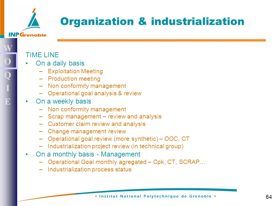 64 TIME LINE On a daily basis –Exploitation Meeting –Production meeting –Non conformity management –Operational goal analysis & review On a weekly basis –Non conformity management –Scrap management – review and analysis –Customer claim review and analysis –Change management review –Operational goal review (more synthetic) – OOC, CT –Industrialization project review (in technical group) On a monthly basis - Management –Operational Goal monthly agregated – Cpk, CT, SCRAP… –Industrialization process status WOQIEWOQIE Organization & industrialization