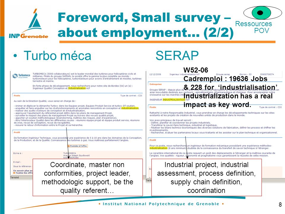 8 Foreword, Small survey – about employment… (2/2) Turbo mécaSERAP Coordinate, master non conformities, project leader, methodologic support, be the quality referent… Industrial project, industrial assessment, process definition, supply chain definition, coordination W52-06 Cadremploi : 19636 Jobs & 228 for industrialisation Industrialization has a real impact as key word.