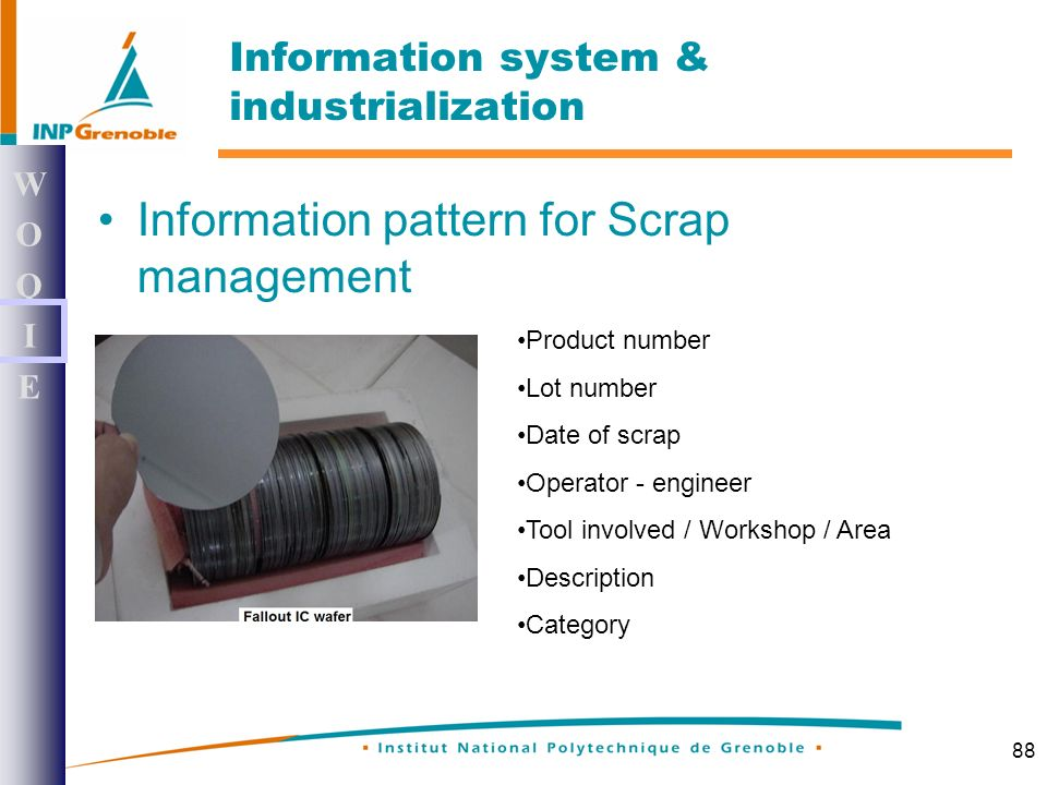 88 Information pattern for Scrap management WOQIEWOQIE Information system & industrialization Product number Lot number Date of scrap Operator - engineer Tool involved / Workshop / Area Description Category