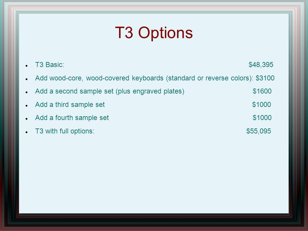 T3 Options T3 Basic: $48,395 Add wood-core, wood-covered keyboards (standard or reverse colors): $3100 Add a second sample set (plus engraved plates)