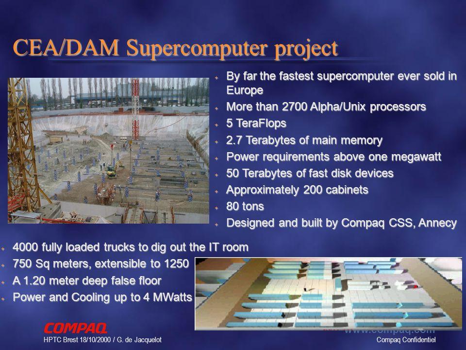 Compaq Confidentiel www.compaq.com HPTC Brest 18/10/2000 / G. de Jacquelot 14 CEA/DAM Supercomputer project + By far the fastest supercomputer ever so