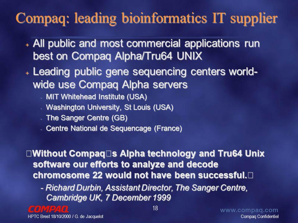 Compaq Confidentiel www.compaq.com HPTC Brest 18/10/2000 / G. de Jacquelot 18 Compaq: leading bioinformatics IT supplier + All public and most commerc