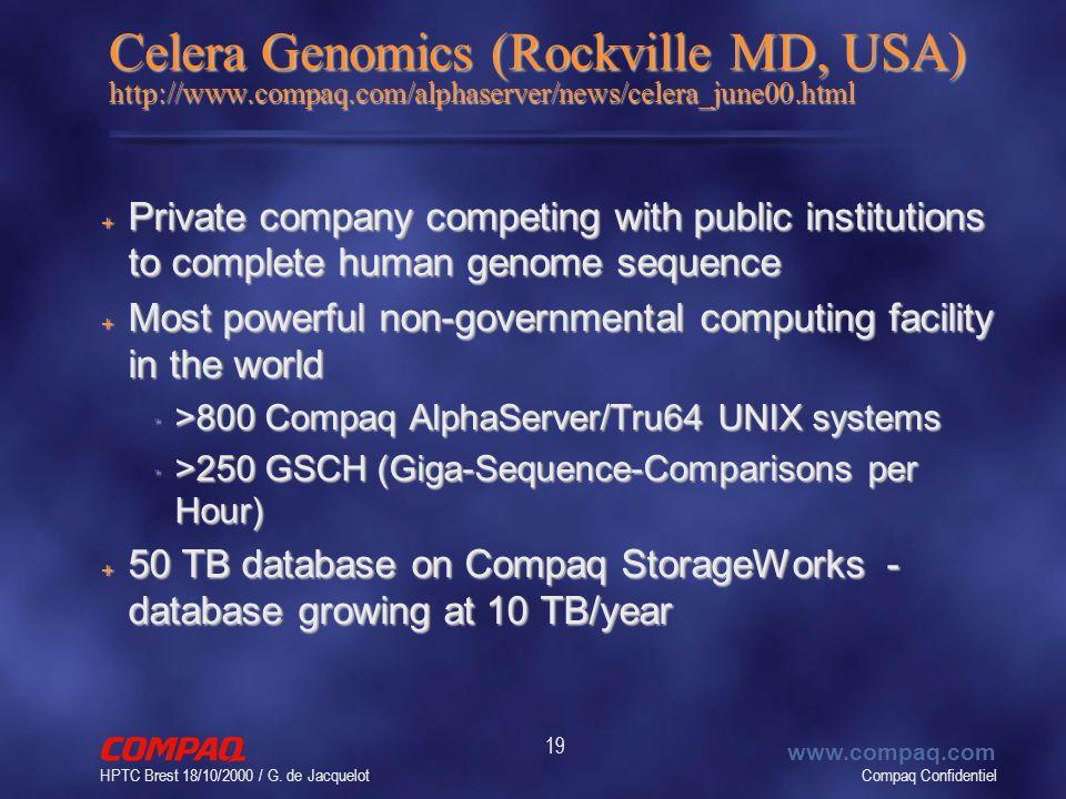 Compaq Confidentiel www.compaq.com HPTC Brest 18/10/2000 / G. de Jacquelot 19 Celera Genomics (Rockville MD, USA) http://www.compaq.com/alphaserver/ne