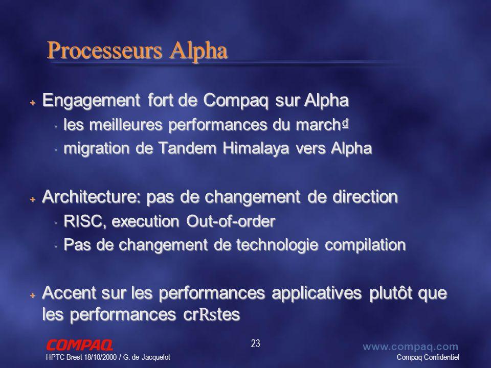 Compaq Confidentiel www.compaq.com HPTC Brest 18/10/2000 / G. de Jacquelot 23 Processeurs Alpha + Engagement fort de Compaq sur Alpha