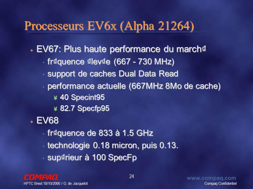 Compaq Confidentiel www.compaq.com HPTC Brest 18/10/2000 / G. de Jacquelot 24 Processeurs EV6x (Alpha 21264) + EV67: Plus haute performance du march
