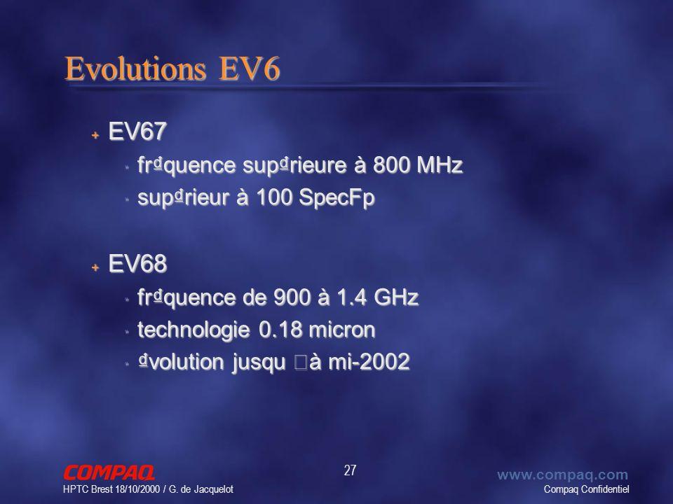 Compaq Confidentiel www.compaq.com HPTC Brest 18/10/2000 / G. de Jacquelot 27 Evolutions EV6 + EV67