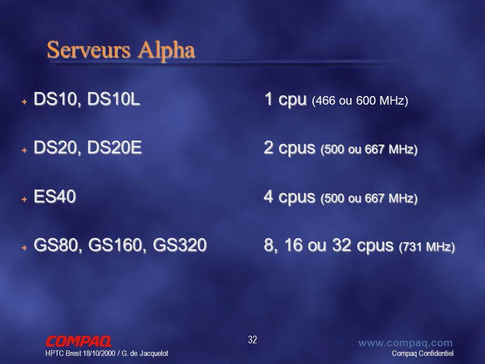 Compaq Confidentiel www.compaq.com HPTC Brest 18/10/2000 / G. de Jacquelot 32 Serveurs Alpha + DS10, DS10L1 cpu + DS10, DS10L1 cpu (466 ou 600 MHz) +