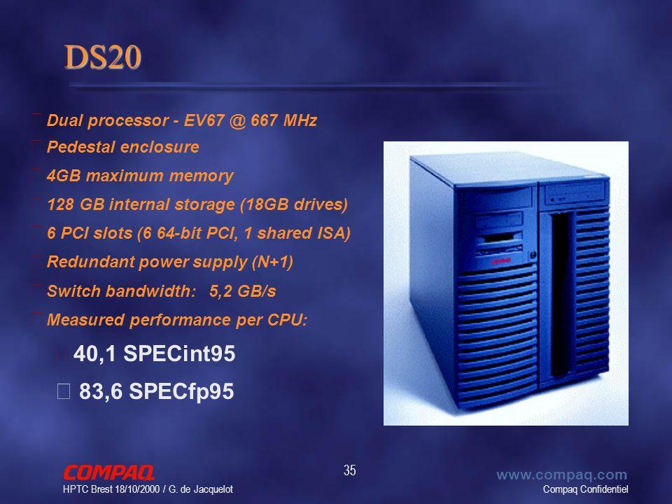 Compaq Confidentiel www.compaq.com HPTC Brest 18/10/2000 / G. de Jacquelot 35 DS20 • Dual processor - EV67 @ 667 MHz • Pedestal enclosure • 4GB maximu