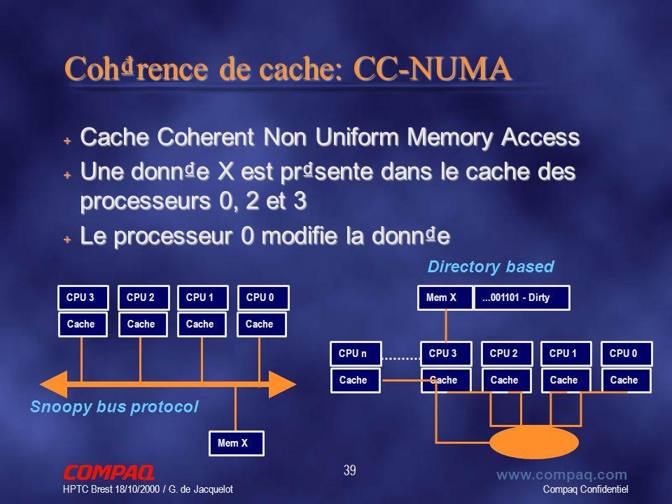 Compaq Confidentiel www.compaq.com HPTC Brest 18/10/2000 / G. de Jacquelot 39 Cohrence de cache: CC-NUMA + Cache Coherent Non Uniform Memory Access +