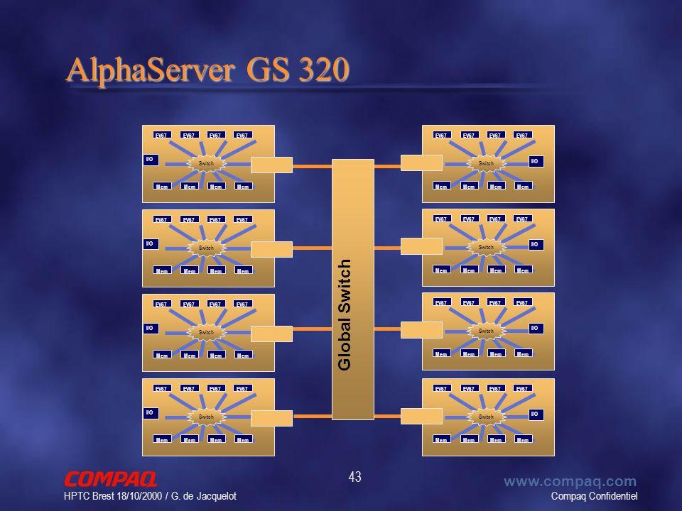 Compaq Confidentiel www.compaq.com HPTC Brest 18/10/2000 / G. de Jacquelot 43 AlphaServer GS 320 Global Switch EV67 Mem I/O Switch EV67 Mem I/O Switch